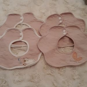 Baby girl bundle of collared bibs pink